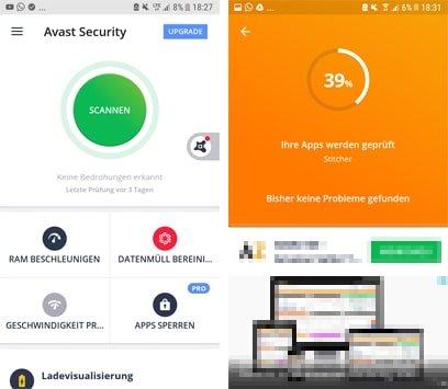 Avast Antivir App zum Malware entfernen