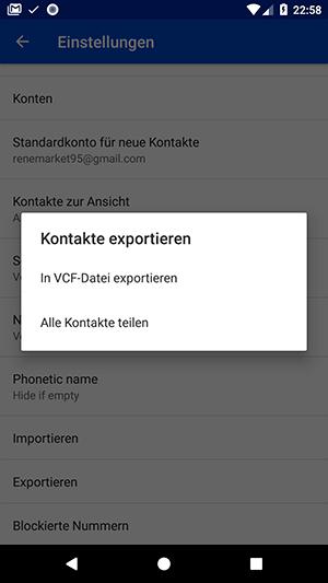 Android Kontakte exportieren