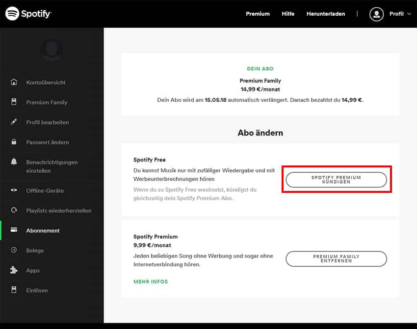 Klicke auf Spotify Premium kündigen