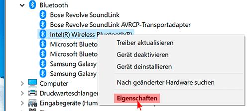 Bluetooth-Einheit Eigenschaften öffnen