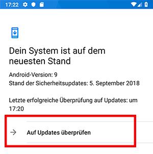 Android Gerät auf Updates prüfen