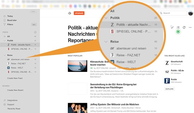 Feedly.com RSS-Feed Darstellung