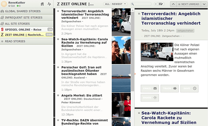 Newsblur RSS-Reader